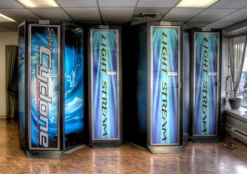 Our vertical stand-up tanning booths