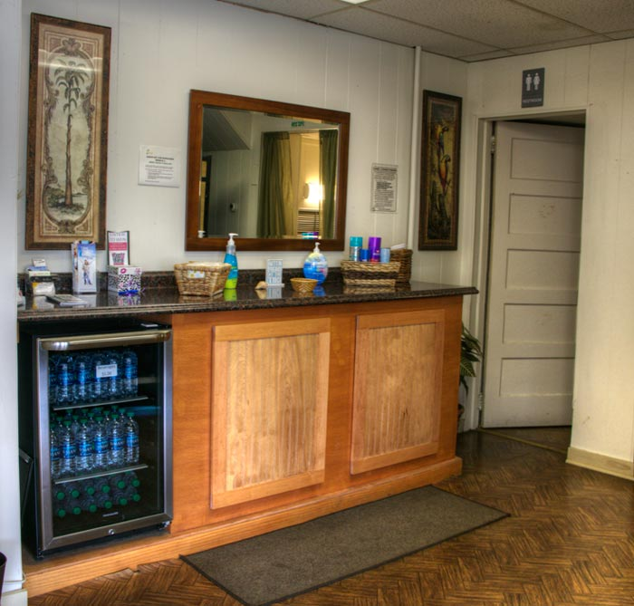 Our refreshment bar in the rear of the salon