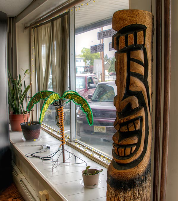 View of the front window and tiki totem