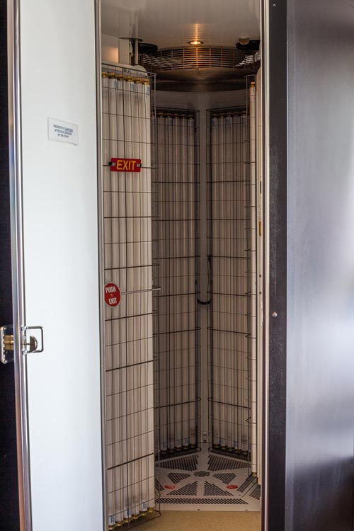View of the inside of a vertical tanning booth